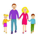 Happy family father, mother, son and daughter go together Stock Photo