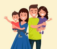 Happy family. Father, mother, son and daughter. Parents are keeping on the hands of their children. Father, mother, son and daughter. Parents are holding their stock illustration