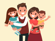 Happy family. Father, mother, son and daughter Stock Photos