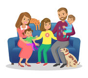 Happy family. Father, mother, son and daughters together. Vector. Illustration Royalty Free Stock Images