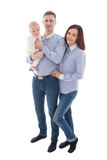 Happy family - father, mother and son isolated on white Stock Photo