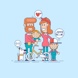 Happy family.Father, mother and two children son having fun and playing in nature. the child sits on the shoulders of his father. Line flat illustration royalty free illustration