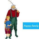 Happy family father and son fishing together Royalty Free Stock Images