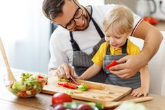 Happy family father with son preparing vegetable salad Royalty Free Stock Image