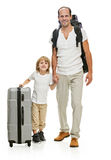 Happy family father and son ready for travel Stock Images