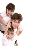 Happy family father and two children. Stock Photography