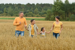 Happy family at   field Stock Image