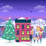 Happy Family and Fir Tree on Night City Background. Vector illustration of emblem of flying gray Santa in sleigh harnessed by strong reindeers. Behind house Royalty Free Stock Photo