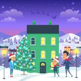 Happy Family and Fir Tree on Night City Background. Vector illustration of emblem of flying gray Santa in sleigh harnessed by strong reindeers. Behind house stock illustration