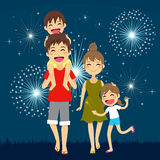 Happy Family Fireworks Royalty Free Stock Photography