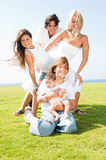 Happy family of five Royalty Free Stock Image