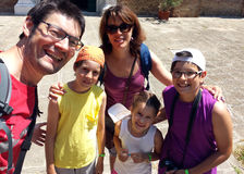 Happy family of five people outside the Church in Venice Royalty Free Stock Images