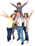 Happy family of five with young kid Royalty Free Stock Images