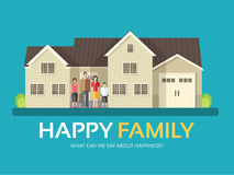 Happy family in flat design background concept. Mom, dad, son and daughter standing near big house. Icons for your Royalty Free Stock Photos