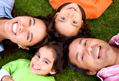 Happy family on the floor Stock Photos