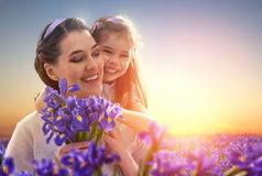 Happy family with flowers Royalty Free Stock Images