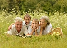 Happy family in forest royalty free stock photo