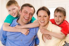 Happy family four Stock Photo