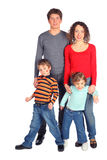 Happy family of four full body Royalty Free Stock Images