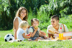 Happy family of four having picnic Royalty Free Stock Photo
