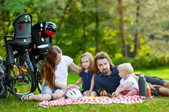 Happy family of four having a picnic Stock Image