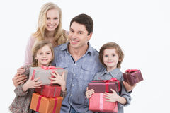 Happy family of four isolated. Royalty Free Stock Image