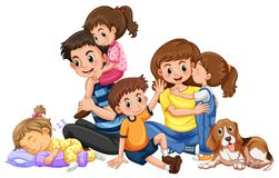 Happy family with four kids and one dog stock illustration