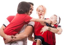 Happy family of four members over white background Royalty Free Stock Photo