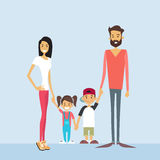 Happy Family Four People, Parents With Two Children Holding Hands Royalty Free Stock Photo