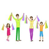 Happy family four people with shopping bags Royalty Free Stock Image