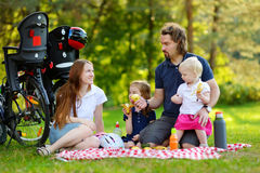 Happy family of four picnicking in the park Stock Photo
