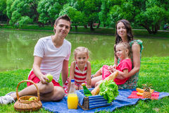 Happy family of four picnicking in the park on Royalty Free Stock Photo