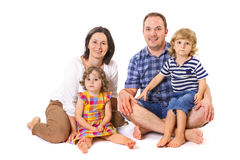 Happy family of four smiling Royalty Free Stock Image