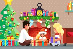 Happy family front of the fireplace opens gifts room christmas tree flat design vector illustration. Happy family front of the fireplace opens gifts christmas vector illustration