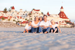 Happy Family in Front of Hotel Del Coronado Stock Photos