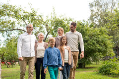 Happy family in front of house outdoors Stock Images