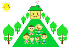 Happy family in front of their home Stock Image