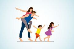 Happy Family Fun and Fooling Around Cartoon Vector stock illustration