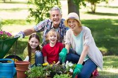 Happy family gardening Royalty Free Stock Photos