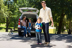Happy family getting ready for road trip Stock Photo