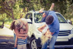 Happy family getting ready for road trip Stock Image
