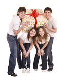 Happy family with gift box. Stock Photo