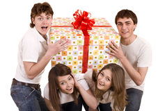 Happy family with gift box. Royalty Free Stock Images