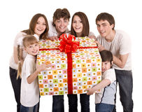 Happy family with gift box. Isolated Royalty Free Stock Image