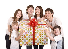 Happy family with gift box. Isolated stock images