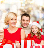 Happy family with gift boxes Royalty Free Stock Photos
