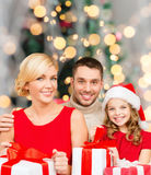 Happy family with gift boxes Stock Photo