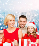 Happy family with gift boxes Stock Photography