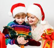 Happy family with a gifts Stock Images