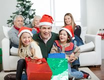 Happy Family With Gifts During Christmas Royalty Free Stock Photo